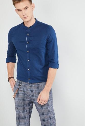 MAX Solid Full Sleeves Band Collar Slim Fit Shirt
