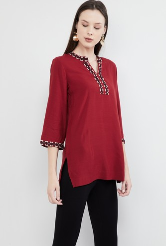 MAX Flared Sleeves Embroidered Tunic
