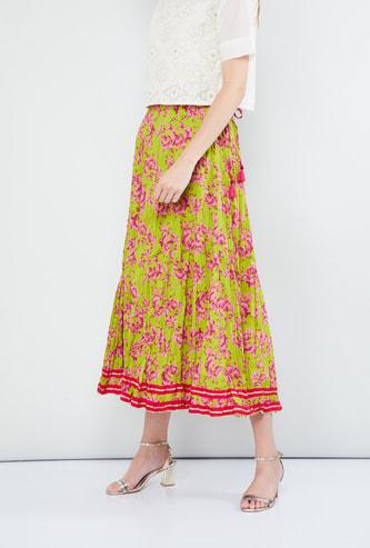 MAX Floral Print Crushed Midi Skirt