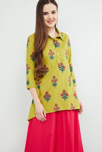 MAX Floral Print Kurti with Spread Collar