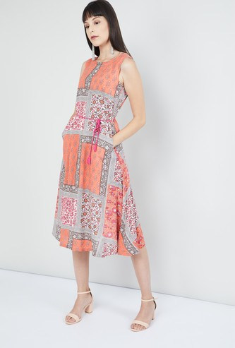 MAX Floral Print A-line Dress with Cutout