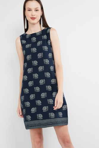MAX Printed Sleeveless Shift Dress