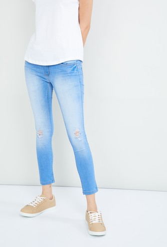 MAX Stonewashed Cropped Skinny Fit Jeans