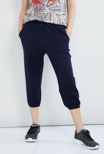 MAX Solid Capris with Drawstring Waist