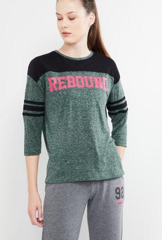 MAX Printed Colourblocked Full Sleeves T-shirt