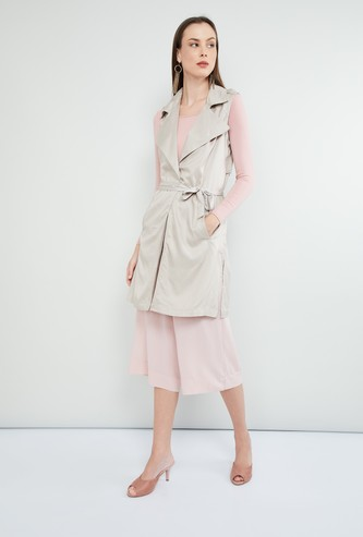 MAX Solid Sleeveless Trench Coat