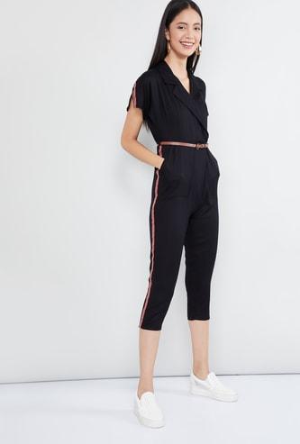 MAX Solid Slit Sleeves Jumpsuit