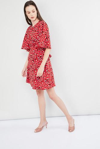 MAX Floral Print Flutter Sleeves Dress