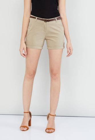 MAX Solid Folded Hem Shorts