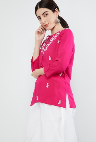 MAX Floral Embroidered Tie-Up Neck Tunic