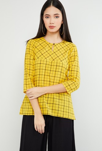 MAX Checked Tunic with Vented Hems