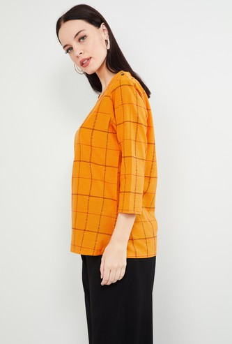 MAX Checked Three-Quarter Sleeves Top