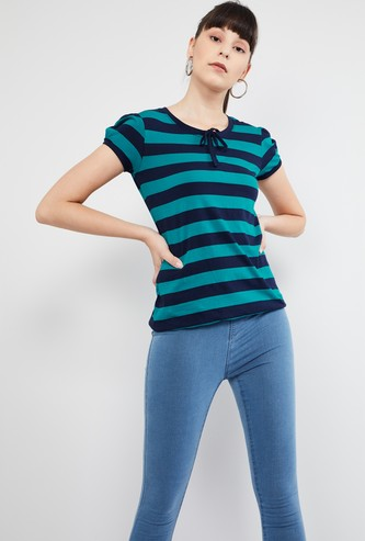 MAX Striped Puffed Sleeves Top
