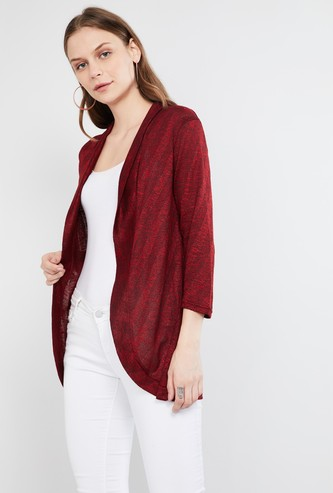 MAX Patterned Knit Open-Front Shrug