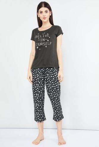 MAX Printed T-shirt and Capri Set