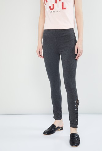 MAX Solid Lace-Up Skinny Pants