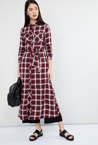 MAX Checked Tunic with Tie-Up Detail