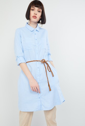 MAX Solid Rolled-Up Sleeves Tunic
