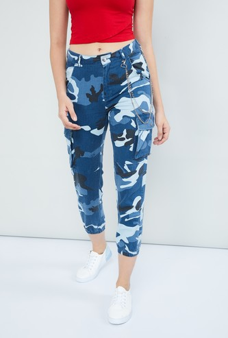 MAX Camouflage Print Cropped Cargo Trousers