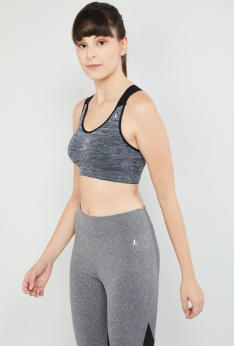 MAX Heathered Sports Bra with Criss-Cross Straps