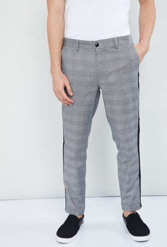 MAX Checked Panelled Slim Fit Trousers