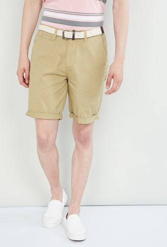 MAX Upturned Hem City Shorts with Belt