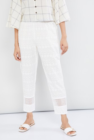 MAX Floral Lace Embroidery Cropped Pants