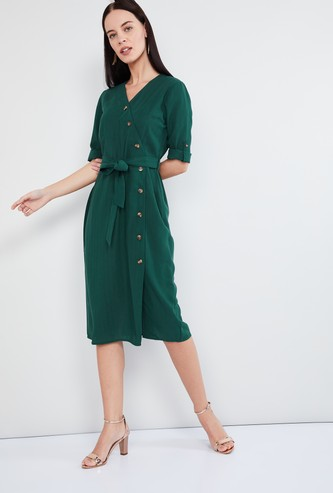 MAX Textured Rolled-Up Sleeves Midi Dress