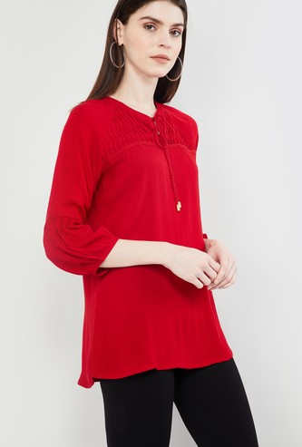 MAX Solid Three-quarter Sleeves Tie-Up Detail Top