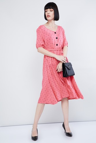 MAX Polka-Dot Print A-line Dress