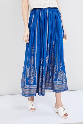 MAX Foil Print Tassel Tie-Up Detail Skirt