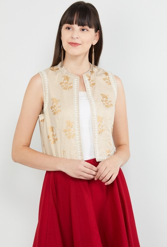 MAX Floral Print Sleeveless Shrug