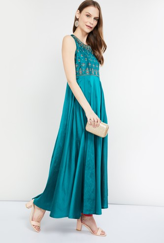 MAX Embroidered Sleeveless A-line Maxi Dress