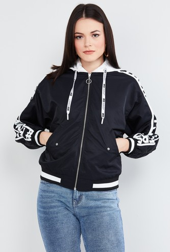 MAX Typographic Print Full Sleeves Hooded Jacket