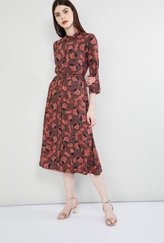 MAX Animal Print Rolled-Up Sleeves Midi Dress