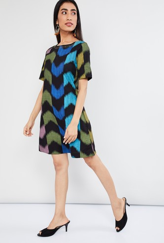 MAX Broken Chevron Print Shift Dress