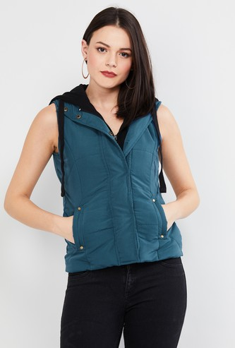 MAX Solid Sleeveless Hooded Jacket
