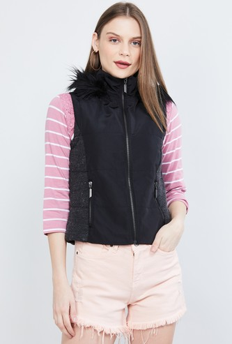 MAX Solid Sleeveless Parka Jacket