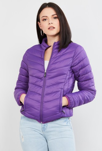 MAX Quilted Band Collar Zip-Up Jacket