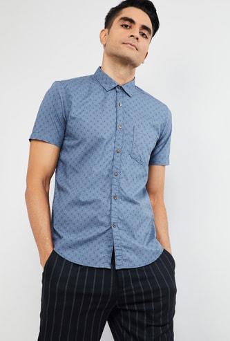 MAX Printed Regular Fit Chambray Shirt