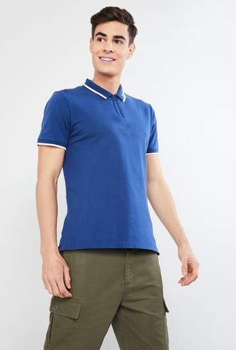 MAX Solid Polo T-shirt with Zipper