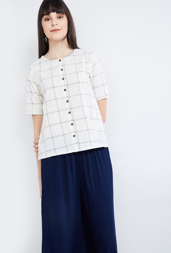 MAX Checked Short Sleeves Top