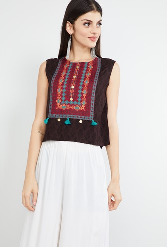 MAX Printed Sleeveless Ethnic Top
