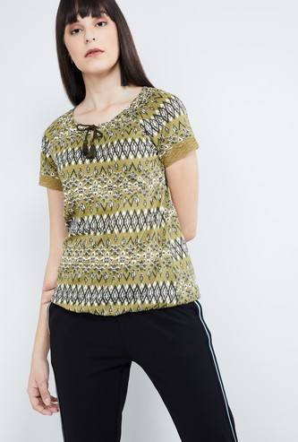 MAX Printed Tie-Up Neck Top