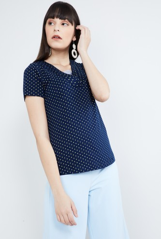 MAX Printed V-neck Top