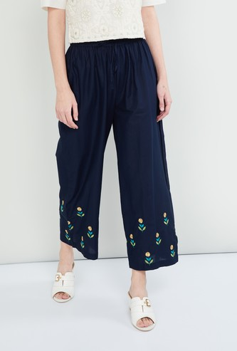 MAX Floral Embroidery Ankle-Length Palazzo Pants