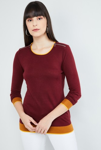 MAX Flat-Knitted Full Sleeves Sweater