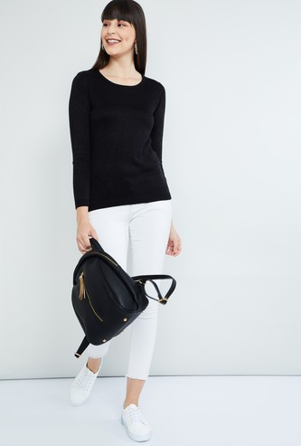 MAX Shimmery Detailed Round Neck Sweater
