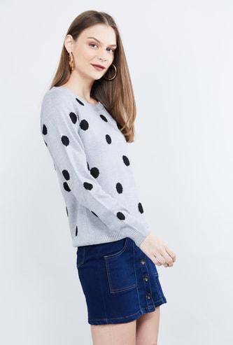 MAX Polka Dot Pattern Full Sleeves Sweater