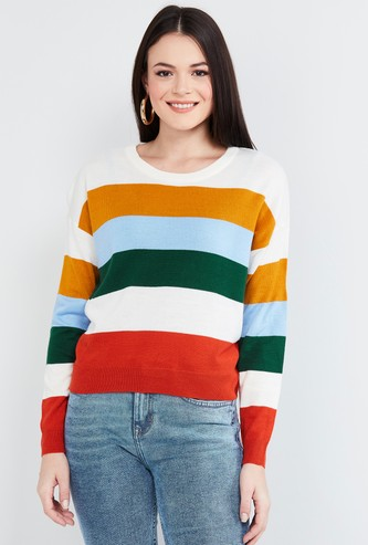 MAX Colourblocked Round Neck Sweater
